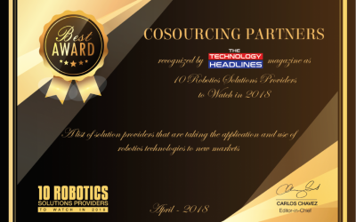 CoSourcing Partners Named One of the Top 10 Robotics Solution Providers to Watch in 2018